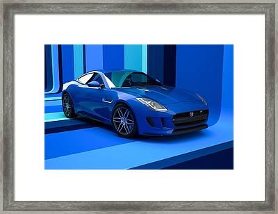 Jaguar F-type - Blue Retro Framed Print