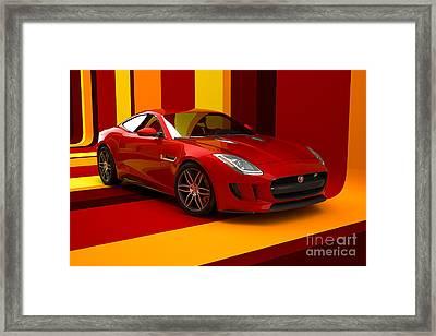 Jaguar F-type - Red Retro Framed Print