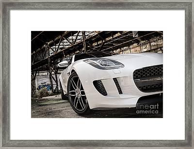 Jaguar F-type - White - Front Close-up Framed Print
