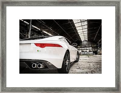 Jaguar F-type - White - Rear Close-up Framed Print