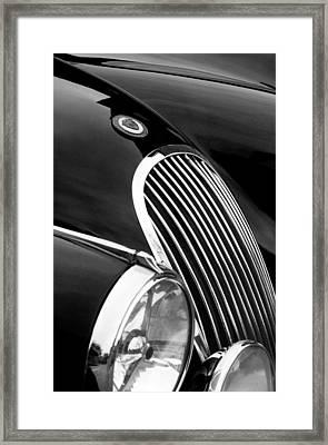 Jaguar Grille Black And White Framed Print by Jill Reger