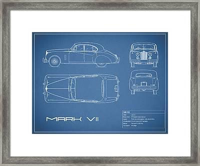 Jaguar Mk Vii Blueprint Framed Print by Mark Rogan