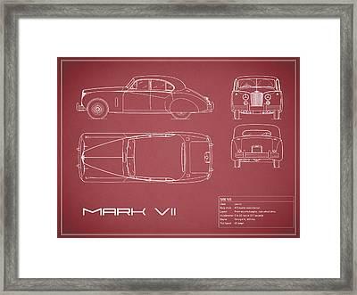 Jaguar Mk Vii Blueprint - Red Framed Print by Mark Rogan