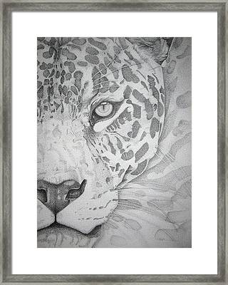 Jaguar Pointillism Framed Print