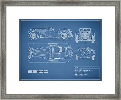 Jaguar Ss100 Blueprint Framed Print by Mark Rogan
