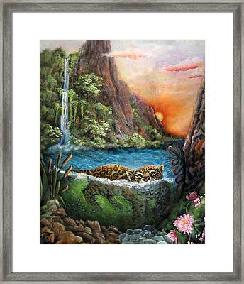 Jaguar Sunset  Framed Print