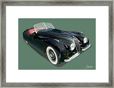 Jaguar Xk 120 Illustration Framed Print