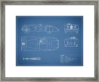 Jaguar Xk 120 Blueprint Framed Print by Mark Rogan