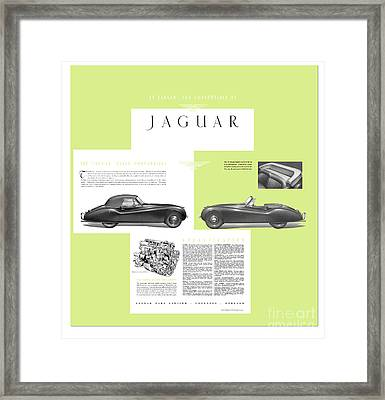 Jaguar Xk 120 Convertible Six Cylinder 160bph Engine Double Overhed Camshaft Classic Car Framed Print by R Muirhead Art