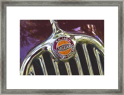 Jaguar Xk 140 Hood Painterly Impressions  Framed Print