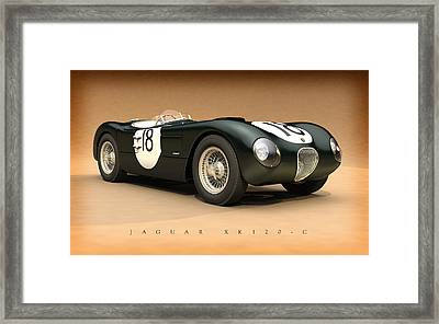 Jaguar Xk120-c Framed Print by Pete Chadwell