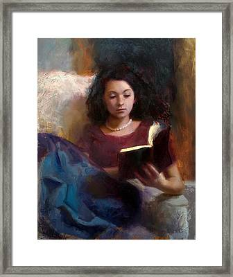 Jaidyn Reading A Book 1 - Portrait Of Young Woman Framed Print