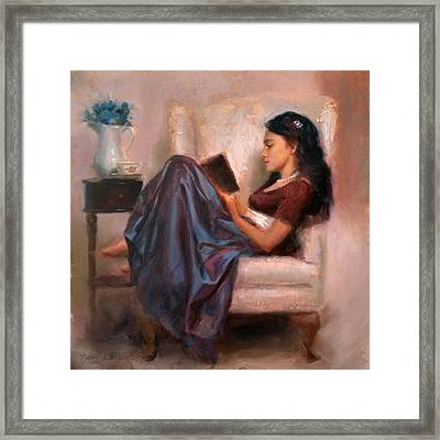 Framed Print featuring the painting Jaidyn Reading A Book 2 - Portrait Of Woman by Karen Whitworth