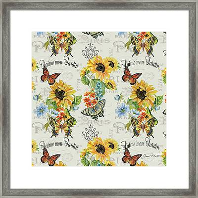 Framed Print featuring the painting Jaime Mon Jardin-jp3989 by Jean Plout