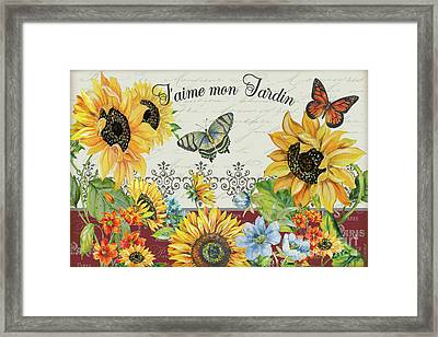 Framed Print featuring the painting Jaime Mon Jardin-jp3990 by Jean Plout