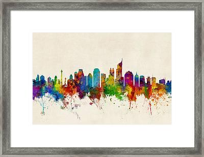 Jakarta Skyline Indonesia Bombay Framed Print by Michael Tompsett