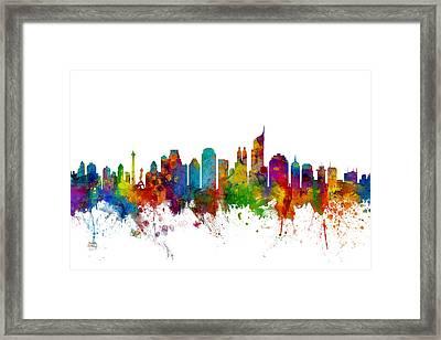 Jakarta Skyline Indonesia Framed Print by Michael Tompsett