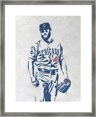 Jake Arrieta Chicago Cubs Pixel Art Framed Print by Joe Hamilton