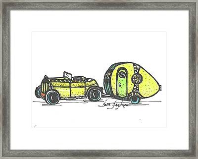 Jalopy And Yellow Camper Framed Print