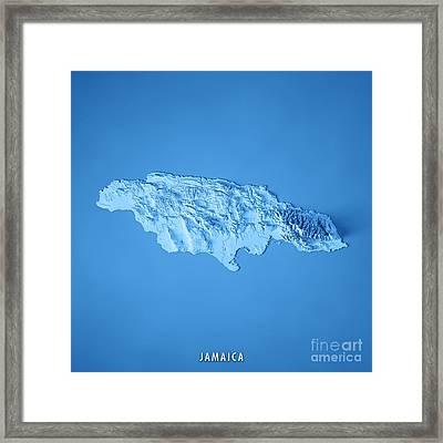 Jamaica 3d Render Topographic Map Blue Border Framed Print