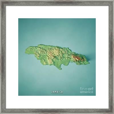 Jamaica 3d Render Topographic Map Framed Print