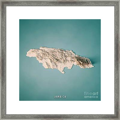 Jamaica 3d Render Topographic Map Neutral Framed Print