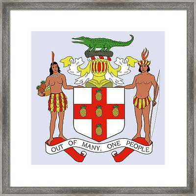 Framed Print featuring the drawing Jamaica Coat Of Arms by Movie Poster Prints