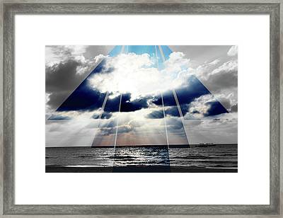 Jamaica Sunset Art Deco Bw With Color Framed Print