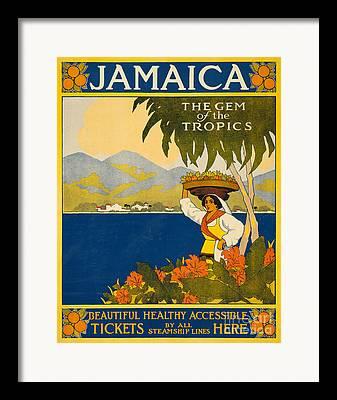 Tropical Oceans Drawings Framed Prints