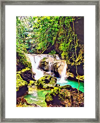 Jamaica Waterfall Framed Print by Anthony C Chen
