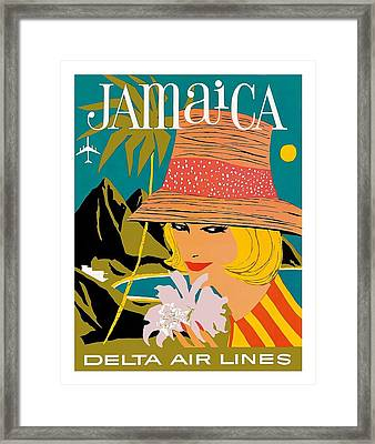 Jamaica Woman With Orchid Vintage Airline Travel Poster Framed Print by Retro Graphics