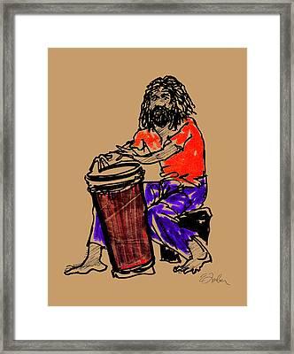 Jamaican Drummer Framed Print by Edward Farber