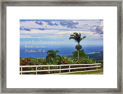 Jamaican Ocean View Ps. 37v4 Framed Print by Linda Phelps