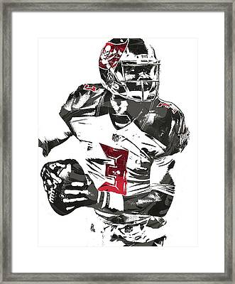 Framed Print featuring the mixed media Jameis Winston Tampa Bay Buccaneers Pixel Art by Joe Hamilton