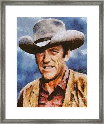 James Arness, Vintage Hollywood Actor Framed Print by Mary Bassett