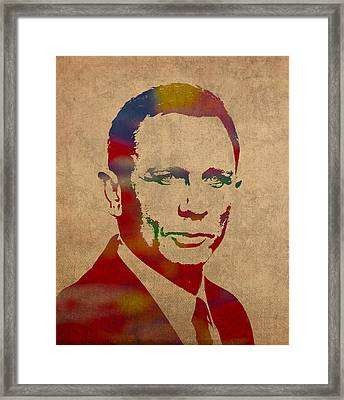 James Bond Daniel Craig Watercolor Portrait Framed Print
