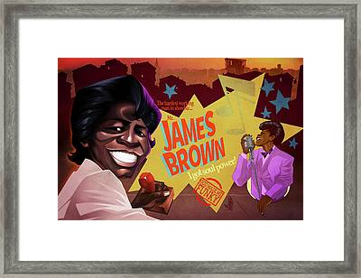Framed Print featuring the drawing James Brown by Nelson Dedos Garcia