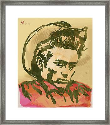 James Dean  -  Etching Pop Art Poster Framed Print by Kim Wang