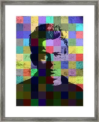 James Dean Actor Hollywood Pop Art Patchwork Portrait Pop Of Color Framed Print