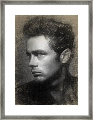 James Dean Drawing Framed Print by Quim Abella