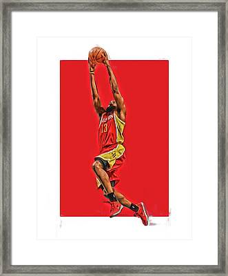 James Harden Houston Rockets Oil Art Framed Print