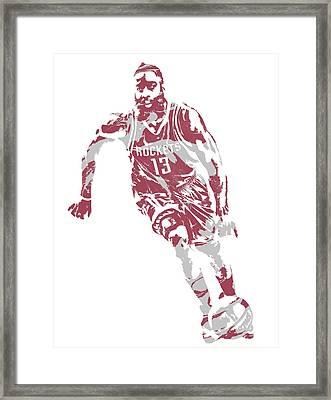 James Harden Houston Rockets Pixel Art 21 Framed Print