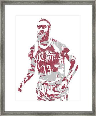 James Harden Houston Rockets Pixel Art 22 Framed Print