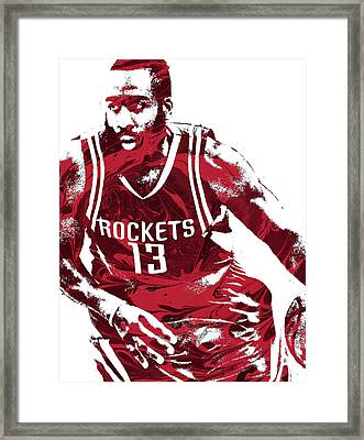 James Harden Houston Rockets Pixel Art 3 Framed Print