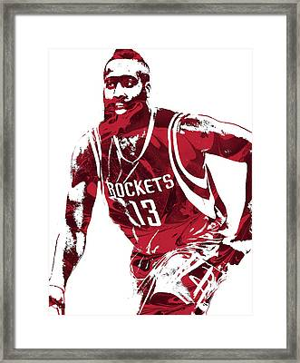 James Harden Houston Rockets Pixel Art 4 Framed Print