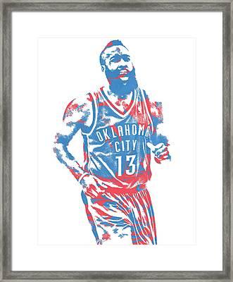 James Harden Oklahoma City Thunder Pixel Art 1 Framed Print