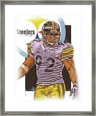 James Harrison Pittsburgh Steelers Oil Art Framed Print by Joe Hamilton