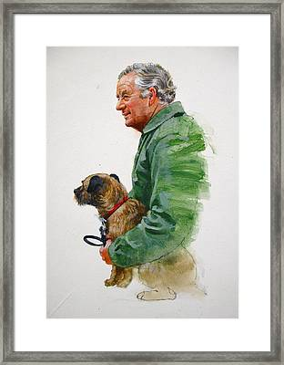 Framed Print featuring the painting James Herriot And Bodie by Cliff Spohn