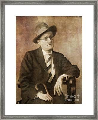 James Joyce, Literary Legend By Mary Bassett Framed Print by Mary Bassett