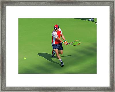 James Mcgee Plays Center Court At The Winston-salem Open Framed Print by Bryan Pollard